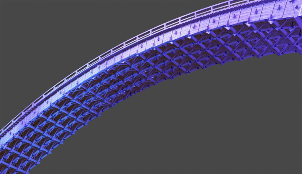 医療従事者の皆さんに感謝を伝える「ブルーライトアップ」された錦帯橋